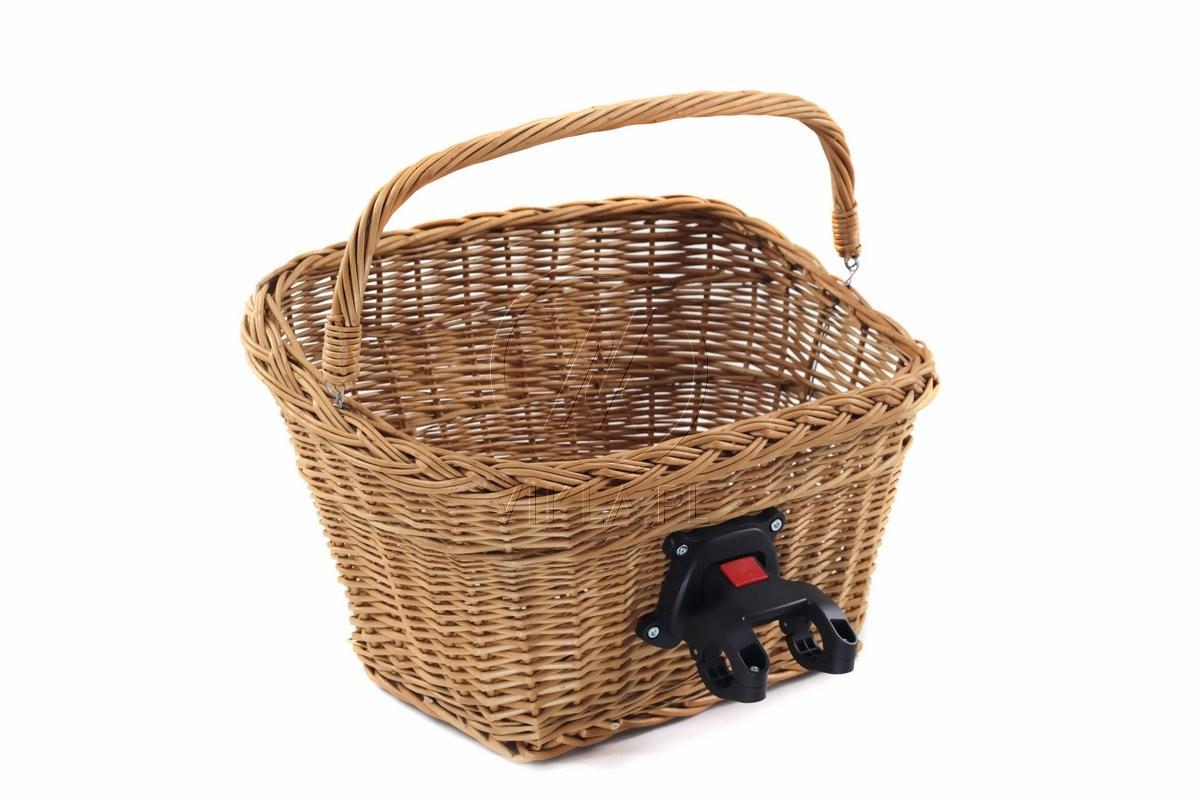 384c85dcd15e57 Wysokiej jakości kosz na rower z wikliny naturalnej, z klikiem.