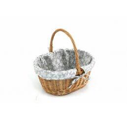 Koszyk na prezenty z wikliny mały wyszyty