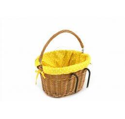 Koszyk z wikliny na rower wyszyty