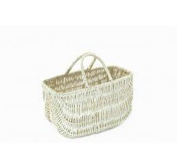 Biała torebka z wikliny