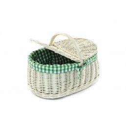 Koszyk na piknik biały wyszyty