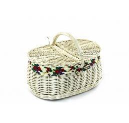 Koszyk piknikowy biały wyszyty