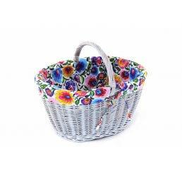 Wiklinowy koszyk malowany z materiałem